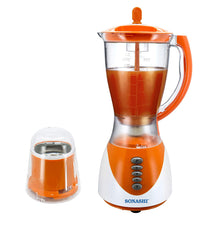 Sonashi 2 in 1 Blender with Unbreakable Jar & Mill, 3 Speed, 1.5Ltr - Orange and White