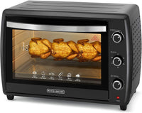 Black+Decker Double Glass Toaster Oven with Rotisserie 70L, TRO70RDG-B5 - Black