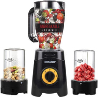 Sonashi 3 In 1 Countertop Blender 300W With Unbreakable Jar & Mill (Black) SB-155N