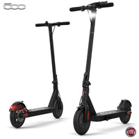 "Fiat F500 E-Scooter 10"" - Folding Electric Scooter, Portable Compact Stylish Trendy, 250W Motor Power, Fast 25kph, Battery Operated, Lights, Splash Resistant, Pneumatic Tires, Electronic Brake - Black"
