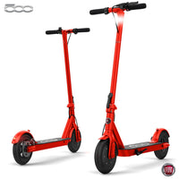 "Fiat F500 E-Scooter 10"" - Folding Electric Scooter, Portable Compact Stylish Trendy, 250W Motor Power, Fast 25kph, Battery Operated, Lights, Splash Resistant, Pneumatic Tires, Electronic Brake - Red"