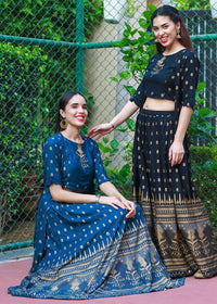 A Trendy & Modern Blue Lehenga Outfit With Crop-top