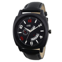 Analog Black Leather Men's Watch