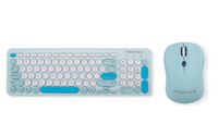 Promate Wireless Keyboard and Mouse Combo with Nano USB Receiver, 1600 DPI Mouse, Silent Keys and Auto-Sleep Function  Pastel.BL