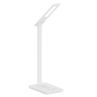 Promate - Desk Lamp with Wireless Charger, Foldable 10W Qi Wireless Charging LED Desk Lamp with 500 Lumen Bright LED Light, Touch Control, Light Timer and USB Charging Port for Home, Office, Smartphone, AuraLight-1 White