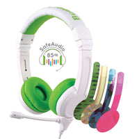 BuddyPhones - School Plus Kids Headphones - High Performance Beam Mic, Detachable BuddyCable for Sharing, Foldable & Cushioned Headband (Green)