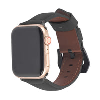 Promate Leather Watch Band, Premium Quality Leather Replacement Apple Watch 42mm/44mm Wristband with Secure Black Metal Buckle Lock and Adjustable Strap for Apple Watch Series 5/4/3/2/1 Medium/Large Size, Stitch-42ML Black