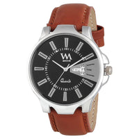 Black Dial Analog Black Leather Quartz Watches For Men