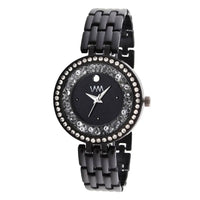 Black Dial Black Stainless Steel Strap Watch for Women and Girls