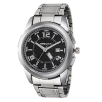 Black Dial Silver Stainless Steel Metal Strap Genuine Watch for Men