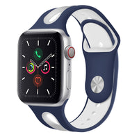 Promate Silicone Watch Strap, Sporty Dual Toned Soft Rubber Sweat Resistant Replacement Apple Watch 42mm/44mm Band with Adjustable Pin and Tuck Closure for Apple Watch Series 1/2/3/4/5 Small/Medium,   HIPSTER-42SM.BLU/WHT