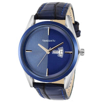 Blue Dial Blue Leather Strap Genuine Premium Branded Day Date Analog Watch for Men