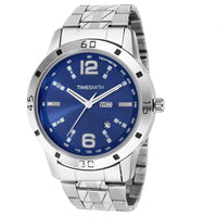 Blue Dial Silver Stainless Steel Metal Strap Day Date Analog Watch for Men