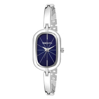 Blue Dial Silver Stainless Steel Strap Branded Analog Watch for Women
