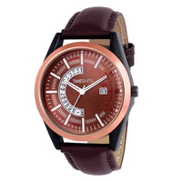 Brown Dial Brown Leather Analog Watch for Men