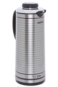 Geepas GVF5261 Stainless Steel Hot and Cold Glass Inner Pot Vacuum Flask, Silver