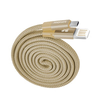Promate - Auto-Coiling USB-C™ Cable, Premium Fabric Braided Aluminium Alloy Reversible USB-A to Type-C™ Cable With 2A Fast Charge and Sync 1.2 Meter Cord for All Type-C™ Smartphones, Tablet, Coiline-C Gold