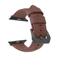 Promate Leather Watch Band, Premium Quality Leather Replacement Apple Watch 42mm/44mm Wristband with Secure Black Metal Buckle Lock and Adjustable Strap for Apple Watch Series 5/4/3/2/1 Medium/Large Size, Stitch-42ML Dark Brown