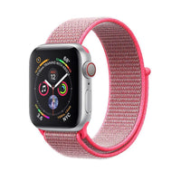 Promate - Sports Loop Band for Apple Watch 42mm/44mm, Premium Nylon Weave Mesh Band with Dense Loop and Adjustable Wrist Strap for Apple Watch Series 1,2,3 and 4, Workout, Fitness, Running, Fibro-42 Pink
