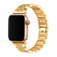 Promate Bracelet Watch Strap, Stylish Crystal Studded Metallic Bracelet Replacement Apple Watch Band 38mm/40mm with Secure Metal Folding Buckle Lock and Link Pin Remover for Women, Apple Watch Series 1/2/3/4/5 Medium/Large, Frost-38ML Gold
