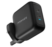 Promate GaN USB-C Charger, Powerful 90W Dual USB-C Laptop Charger with Fast Charging GaN Technology Power Delivery Wall Adaptor and Adaptive Fast Charging for MacBook Pro, iPad Pro, iPhone 12 Series, iPad Air, GaNPort-90PD