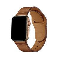 Promate - Genuine Leather Apple Watch 42mm/44mm Strap, Durable Cowhide Genuine Leather Replacement Band with Innovative Looping Pin-and-Tuck Secure Fit Closure for Apple Watch Series 4/3/2/1, Genio-42 Brown
