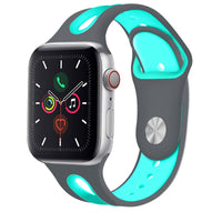 Promate Silicone Watch Strap, Sporty Dual Toned Soft Rubber Sweat Resistant Replacement Apple Watch 42mm/44mm Band with Adjustable Pin and Tuck Closure for Apple Watch Series 1/2/3/4/5 Small/Medium,   HIPSTER-42SM.GRY/TUR