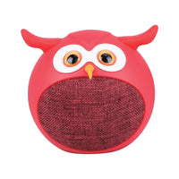 Promate - True Wireless Speaker, Portable Mini Owl Bluetooth v5.0 Animal 3W Speaker with Built-In Microphone and 400mAh Rechargeable Battery for Kids, Smartphones, Tablets, iPod, Hedwig Red