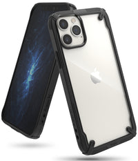 Ringke Cover for iPhone 12 / iPhone 12Pro Case (6.1'') Hard Fusion-X Ergonomic Transparent Shock Absorption TPU Bumper - Black
