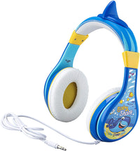 KIDdesigns Baby Shark Wired Headphones - Built in Volume Limiting Feature for Kid Friendly Safe Listening | Adjustable Headband, 3 Volume Settings | Great Stereo Sound  3.5mm connectivity - Blue