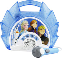 KIDdesigns Disney Frozen 2 Sing Along Karaoke BoomBox - Kids Toys Portable Karaoke Machine, Built in Music, LED Flashing Lights, Working Microphone, Connects MP3 Player Audio Device w/ Play Buttons