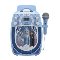 KIDdesigns FROZEN Bluetooth MP3 Sing Along Karaoke Machine - Kids Wireless Rechargeable Portable MP3 Karaoke w/ Mic, LED Light Show…