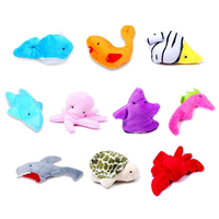10pcs Different Cartoon Sea Animal Finger Puppets Soft Velvet dolls Props Toys