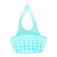 Kitchen Portable Hanging Drain Bag Drain shelf Basket Bath Storage Gadget Tools Sink Holder For kitchen-Blue