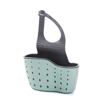 Sponge Holder for Kitchen Sink, Hanging Sink Caddy Organizer with Adjustable Strap -Green