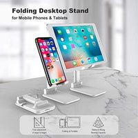 Adjustable Cell Phone Stand for Desk, Foldable Mobile Phone Holder (White)