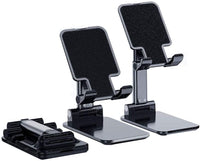 Adjustable Cell Phone Stand for Desk, Foldable Mobile Phone Holder (Black)