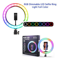 MJ26 10 Inch RGB SOFT Ring Light Colorful LED Photography Lamp for Live Streaming Selfie Makeup Vlog