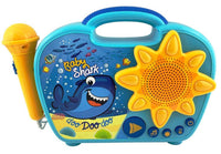 KIDdesigns Baby Shark Sing Along Karaoke BoomBox - Kids Toys Portable Karaoke Machine, Working Microphone, Built in Music, LED Flashing Lights,   Connects MP3 Player Audio Device w/ Play Buttons