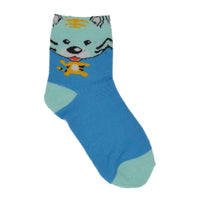 Kids Green & Blue Tiger Above Ankle-Length Cotton Socks