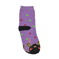 Kids Purple & Black Ankle-Length Cotton Socks