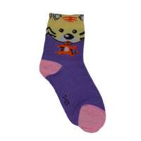Kids Purple & Pink Tiger Above Ankle-Length Cotton Socks