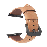 Promate Leather Watch Band, Premium Quality Leather Replacement Apple Watch 42mm/44mm Wristband with Secure Black Metal Buckle Lock and Adjustable Strap for Apple Watch Series 5/4/3/2/1 Medium/Large Size, Stitch-42ML Light Brown