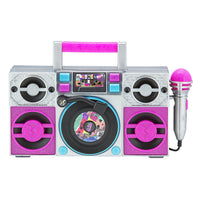 KIDdesigns LOL SURPRISE Sing Along Karaoke BoomBox for Kids - Built in Music, LED Flashing Lights, Working Mic, Kids Toys Portable Karaoke Machine, Connects MP3 Player Audio Device w/ Play Buttons