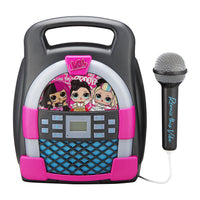 KIDdesigns LOL SURPRISE Bluetooth MP3 Sing Along Karaoke Machine - Kids Wireless Rechargeable Portable MP3 Karaoke w/ Mic, Multi Colored LED Light Show, Internal Memory to Store Hours of Music
