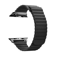 Promate - Leather Apple Watch Band 42mm/44mm, Lightweight Stylish Leather Loop Replacement Wristband with Strong Magnetic Closure Strap for Apple Watch Series 1/2/3/4, Lavish-42 Black