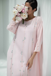 Fatima with Love - Baby Pink Chiffon with Pink & Baby Blue Embroidery Kaftan