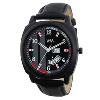 Luxury Special Quartz Analog Black Dial Black Leather Analog Watches for Men