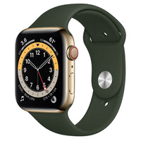 Apple Watch Series 6 GPS + Cellular, Gold Stainless Steel Case with Cyprus Green Sport Band - Regular