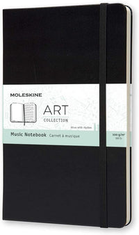 Moleskine - Art Collection Music Notebook with Hard Cover and Elastic Closure, Paper Suitable for Pens, Pencils and Fountain Pens - Black - Large 13 x 21 cm, 192 Pages